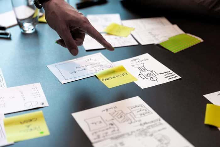 Post-its und Zeichnungen im Rahmen eines Future Thinking Sprints