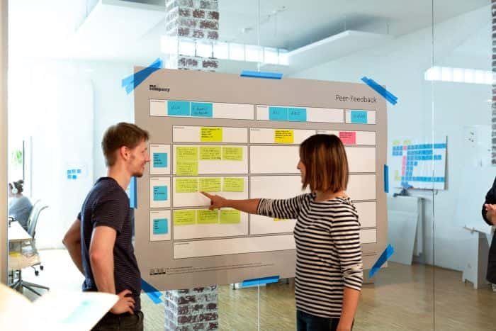 Agile Coach von Me & Company leitet Mitarbeiter durch Peer-Feedback