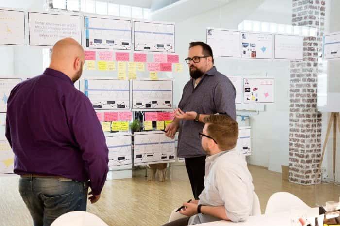 Mitarbeiter von Me & Company arbeiten co-kreativ an einer Produktidee im Rahmen eines Digital Strategy Sprints