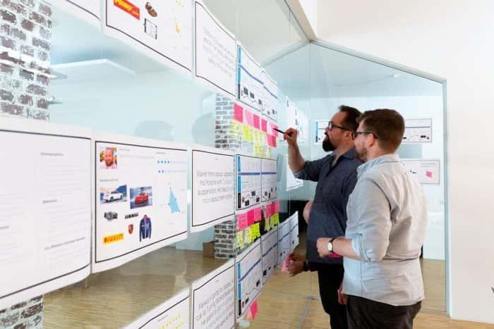 Zwei Mitarbeiter von Me & Company entwickeln die Grundlagen eines Customer Audit Sprints