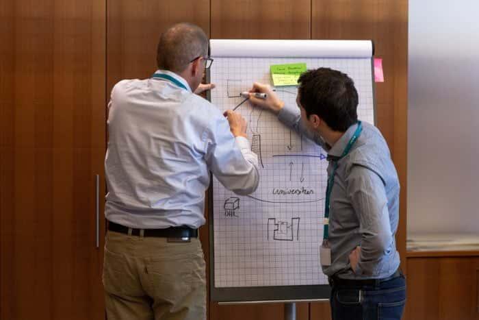 Zwei Personen arbeiten im Rahmen eines Change Audit Sprints an einem Whiteboard