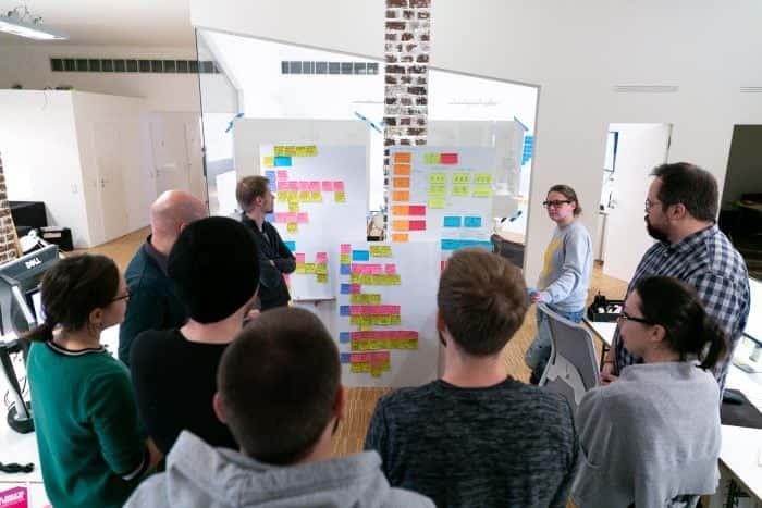 Mitarbeiter von Me & Company besprechen anhand von Whiteboards ihr New Work System