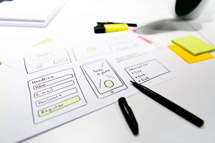 Skizze eines Prototypen für eine Mobile Applikation