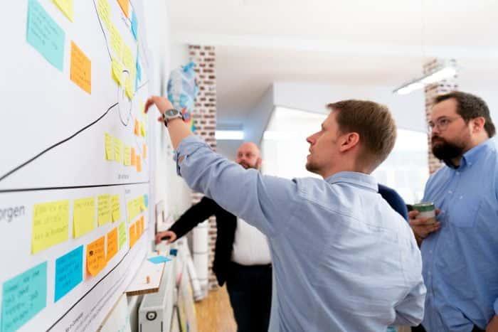 Mitarbeiter von Me & Company arbeiten co-kreative an einem Empathy Map Canvas