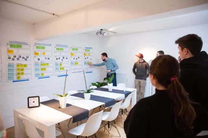 Mitarbeiter von Me & Company diskutieren OKRs anhand von Canvases