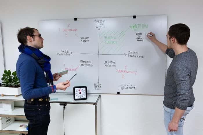 Zwei Mitarbeiter von Me & Company erarbeiten am Whiteboard eine Wachtstumsstrategie