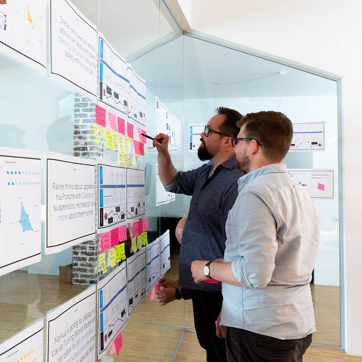 Mitarbeiter von Me & Company arbeiten zusammen mit Post-its in ihrer Rolle als Customer Researcher