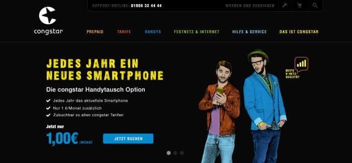 Projektbeispiel einer Webseite von Congstar als Kunde von Me & Company
