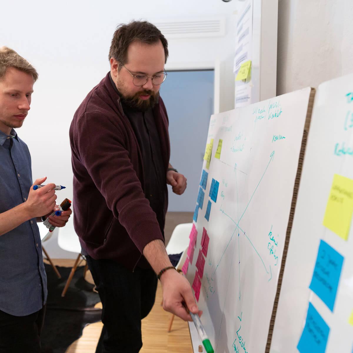 Zwei Mitarbeiter von Me & Company arbeiten zusammen an Whiteboard in ihrer Rolle als Service Designer