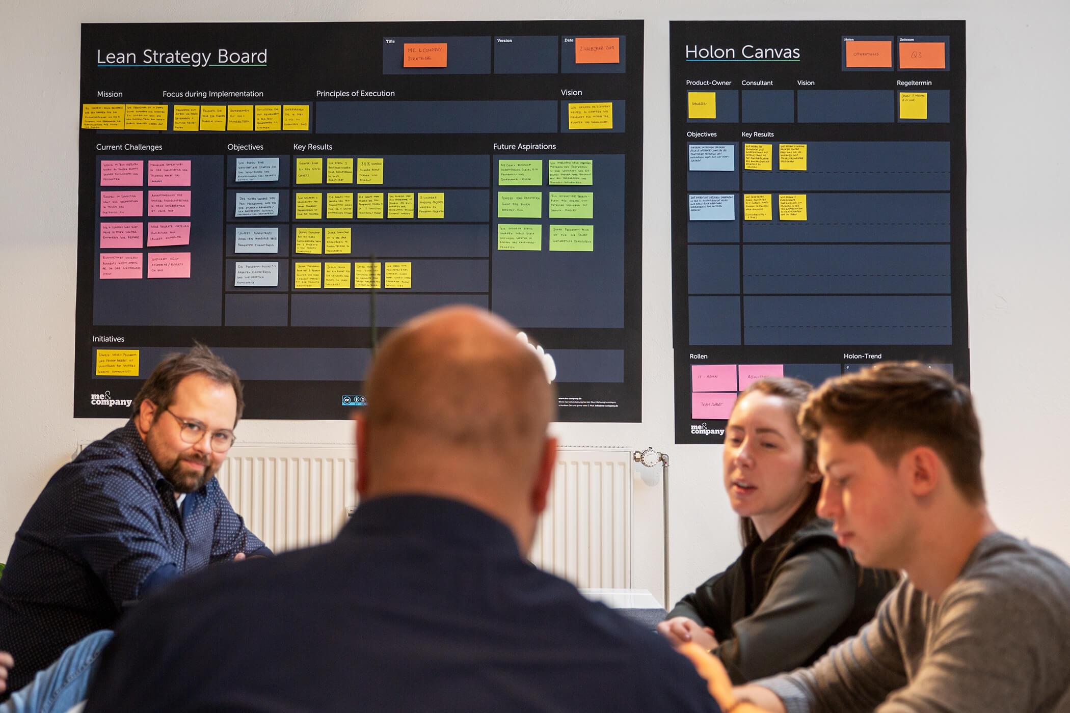 Me & Company: Lean Strategy Board gut sichtbar beim Mittagstisch