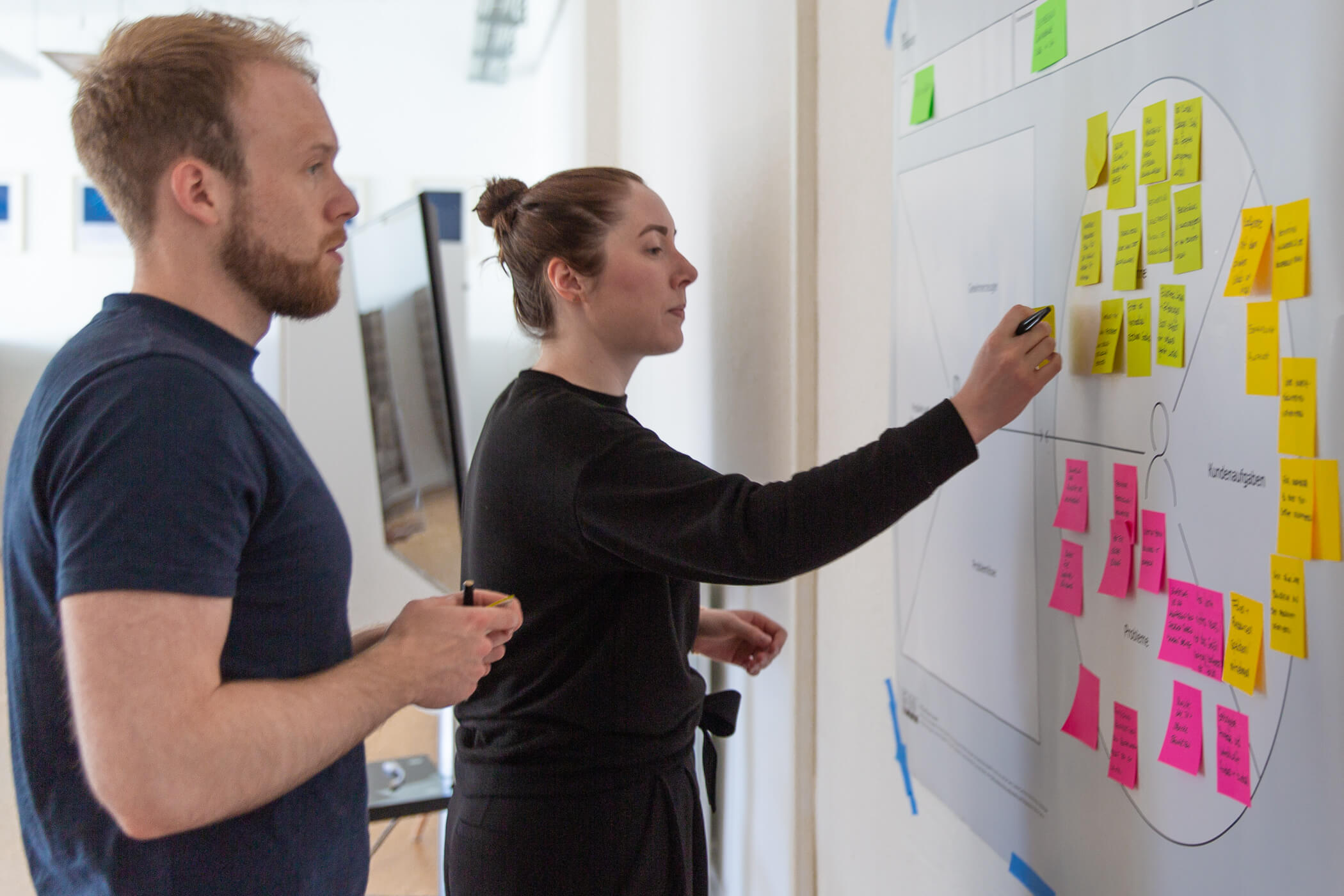 Zwei Personen aus einem agilen New Work Team kleben Notizen auf einen Canvas
