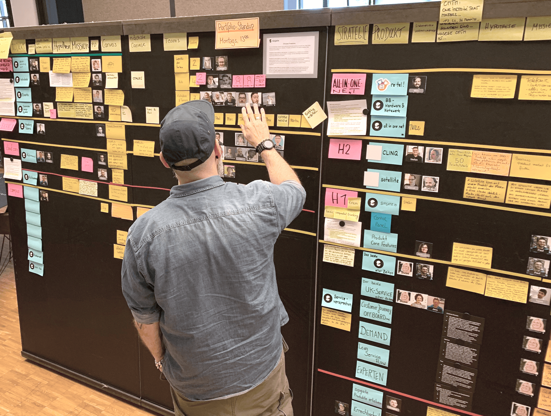 Agile Führung bei sipgate: Das Portfolio Kanban Board