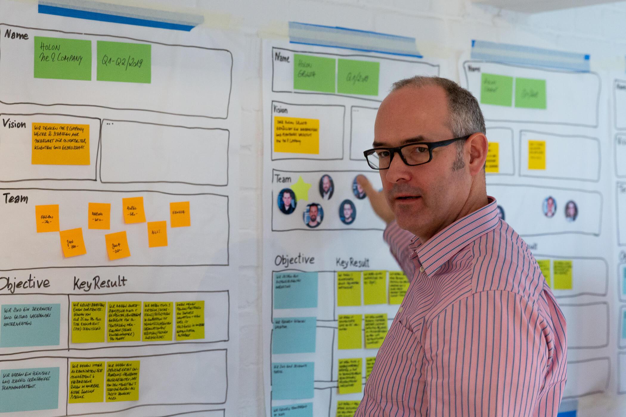 Manager vor einem Prototyp zum Holon Board