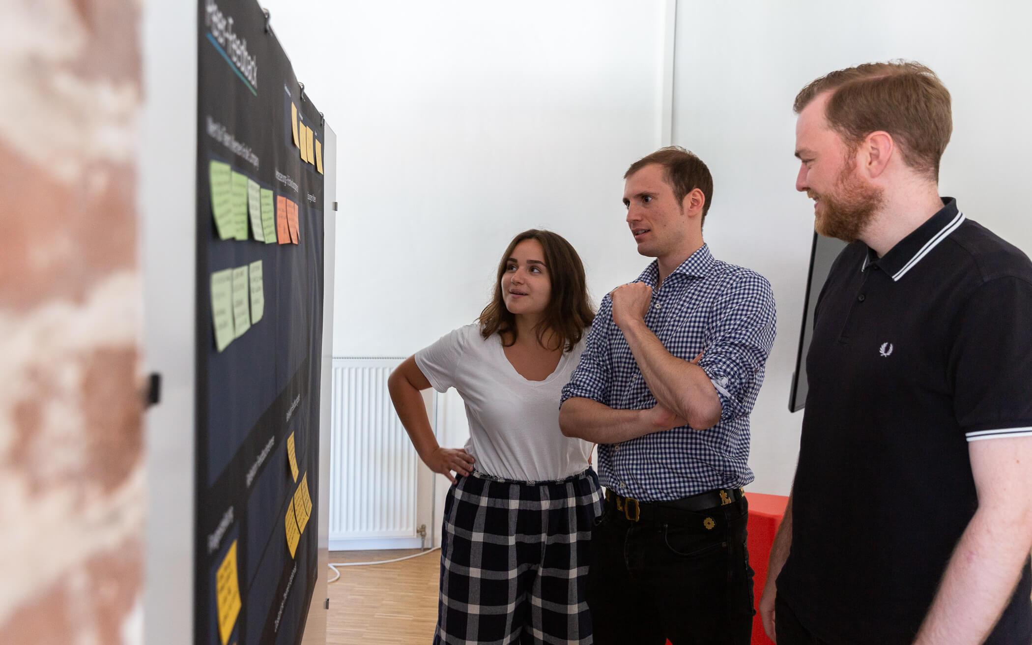 Team-Mitglieder vor dem Lean Strategy Board